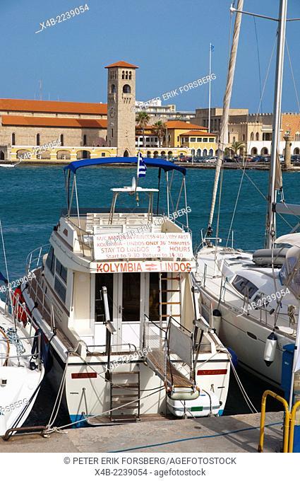 Boats in Mandraki port harbour area, Rhodes island, Dodecanese islands, Greece, Europe