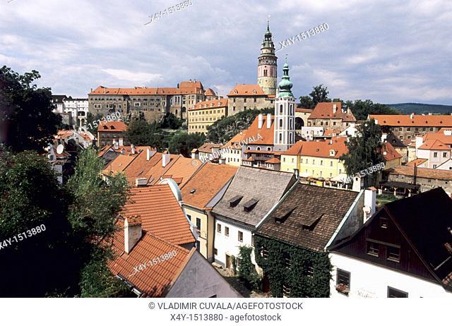 View of the Cesky Krumlov's castle, Czech republic  The historic center of Cesky Krumlov is on the list of UNESCO World Heritage sites