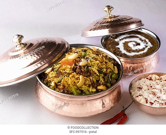 Indian cuisine: Biryani rice dish, Dal makhani lentil dish, Boondi raita chick-pea balls in yoghurt sauce