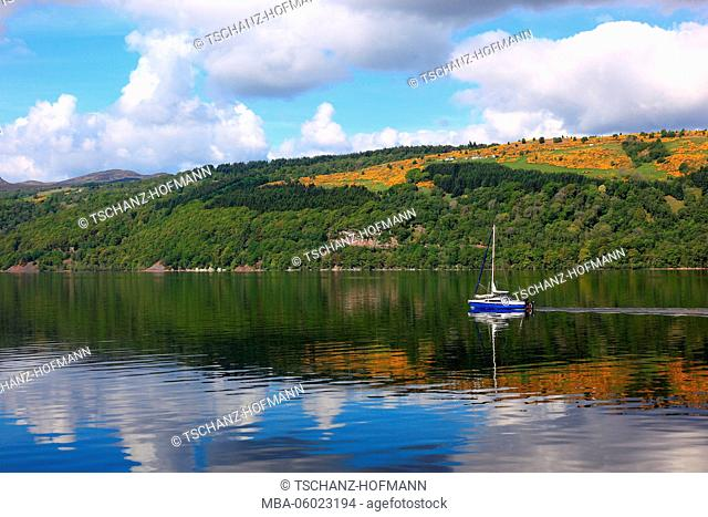 Scotland, Highlands, Landscape at Loch Ness and sailboat