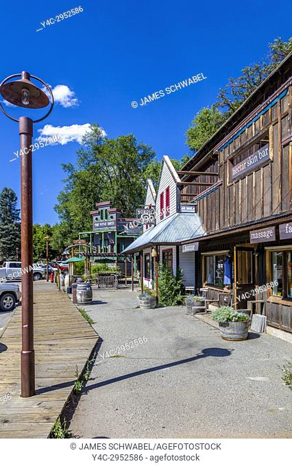 Old west style town of Winthrop in Okanogan County in Washington State in the United States