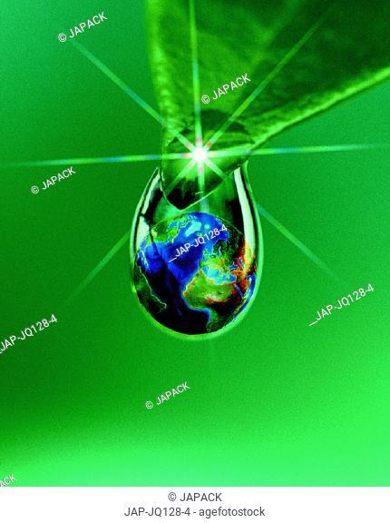 Leaf, drop and globe