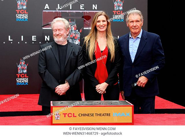 Sir Ridley Scott Hand and Footprint Ceremony Featuring: Sir Ridley Scott, Alwyn Hight Kushner, Harrison Ford Where: Hollywood, California