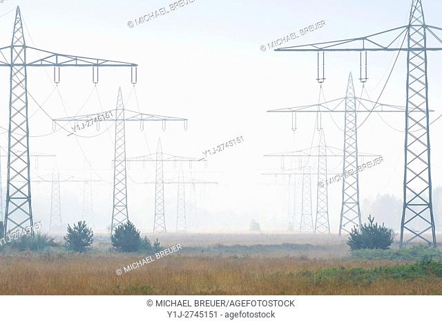 Electricity pylons in morning mist, Hesse, Germany, Europe