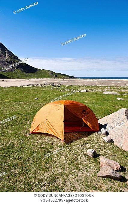 Tent camping campsite at Bunes Beach, Lofoten islands, Norway