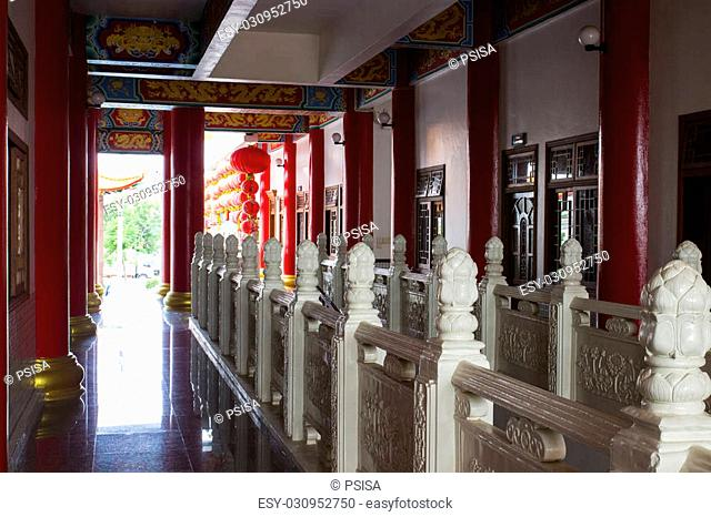 white lotus sculpture banister in chinese temple