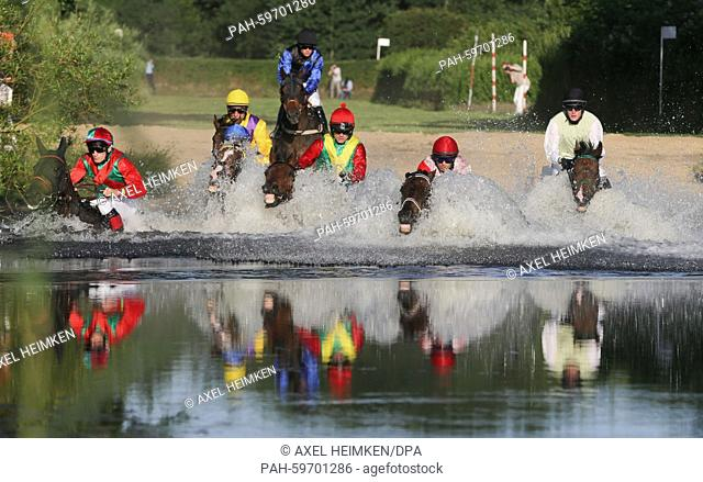 A field of jockeys chase their horses through a pond during the Alpine Motorenoel-Seejagdrennen equastrian galloping race at the horse race track in Hamburg