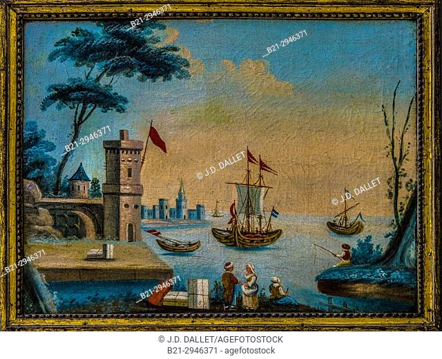 Turkey, painting, 19th Century, anonymus, of the harbour of Istambul