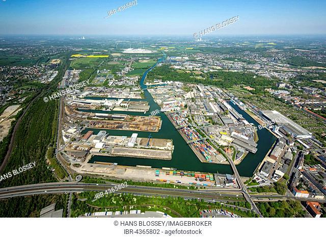 Aerial view, port of Dortmund, inland port, Dortmund-Ems Canal, container port, the Port of Dortmund AG, Dortmund, Ruhr district, North Rhine-Westphalia