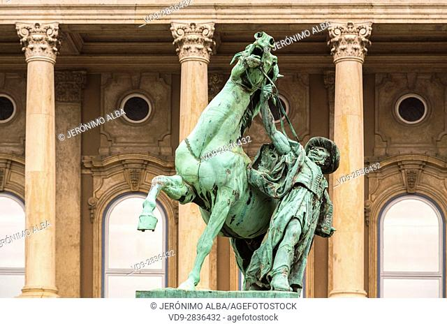 Horse sculpture, Buda Castle Hill District. Budapest Hungary, Southeast Europe