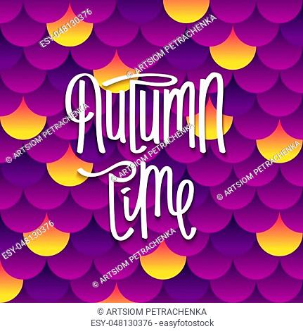 Bright and fun Autumn background. Volume layered pattern from many circles. Modern paper cut style. Vector design