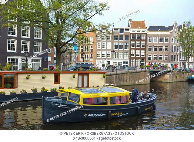 Circle line, sightseeing cruise, Prinsengracht, Amsterdam, The Netherlands