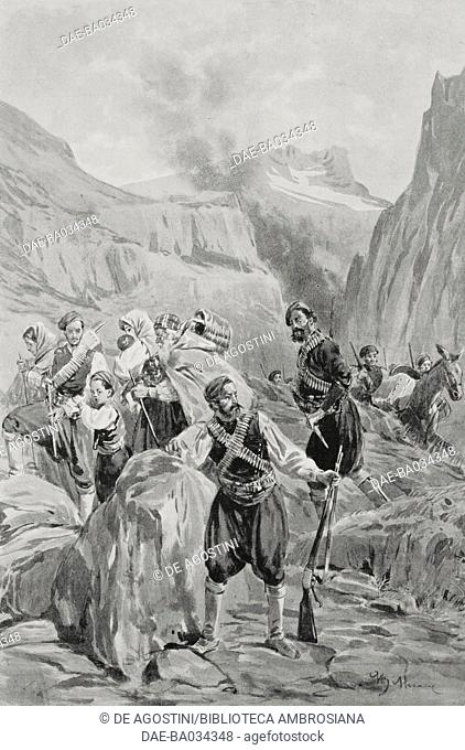 Christian refugees in the gorges of the Chania mountains, Cretan Revolt, Greece, drawing by Achille Beltrame (1871-1945), from L'Illustrazione Italiana