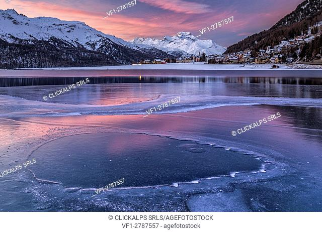 Silvaplana Lake, Sankt Moritz, Switzerland. Sunset over the frozen lake