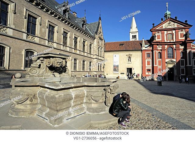 Hradcany Castle Basilica of St George, Prague, Czech Republic, Bohemia, Central Bohemia Region, Europe