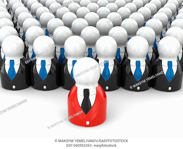 Concept of team leader. People on white background. 3d