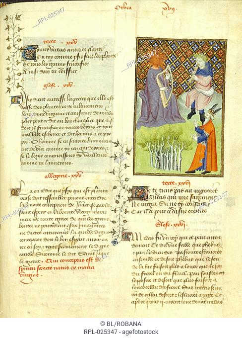Pan and Apollo in contest, whole folio King Midas judging the musical contest between Pan and Apollo. From L'Epitre d'Othea