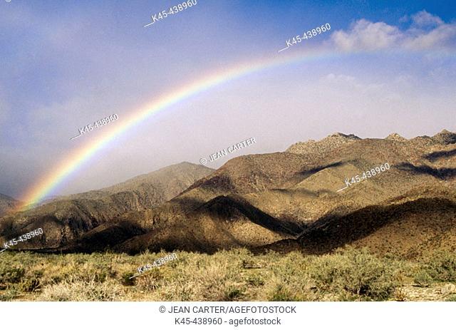 Rainbow over Santa Rosa Mountains, Anza-Borrego Desert State Park. Southern California, USA