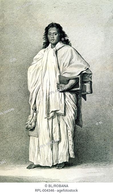 Portrait of Omai a native of Raiatea. In September 1773, Captain Tobias Furneaux took him aboard the Adventure as an interpreter during Captain Cook's Second...
