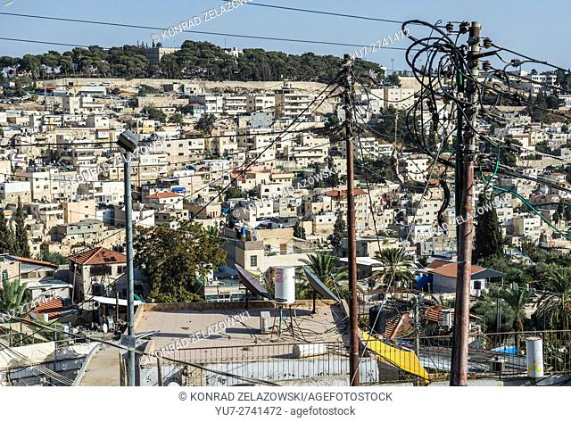 apartment houses on the hills of Silwan neighborhood on the outskirts of the Old City of Jerusalem, Israel
