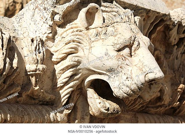 Stone lion in temple of Jupiter, Baalbek, Bekaa Valley, Lebanon