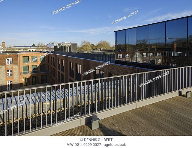 Rooftop balcony. Newnham College, Cambridge, Cambridge, United Kingdom. Architect: Walters and Cohen Ltd, 2018