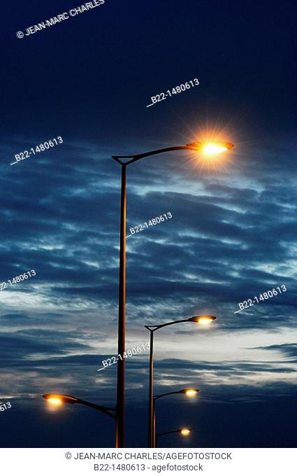 Street lighting, Reims, Marne, Champagne-Ardenne, France