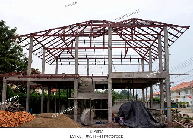 two storey modern home under construction