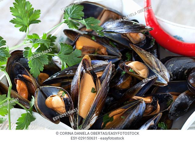 Closeup of bowl with mussels saute decorated with fresh parsley and red chili pepper