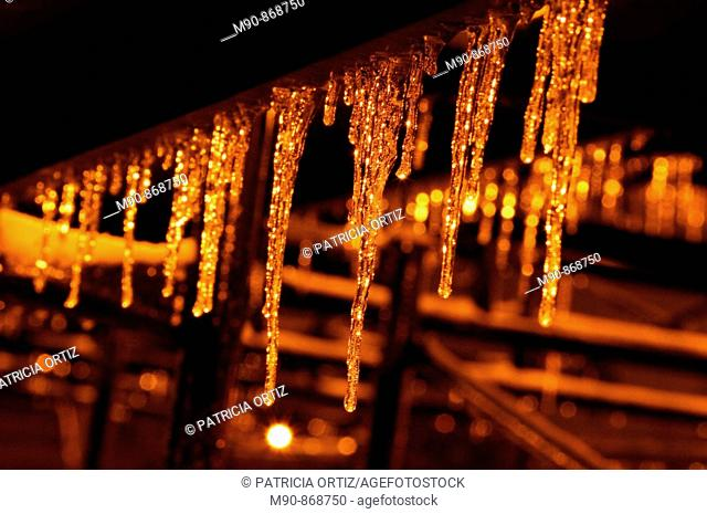 Ice stalactites at night