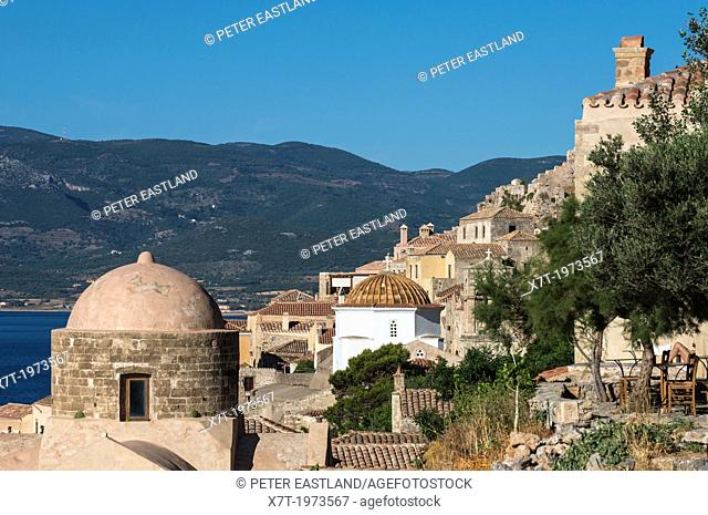 Looking across the old Byzantine town of Monemvasia, Lakonia, Southern Peloponnese, Greece