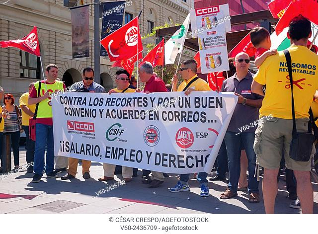 -Demonstration of Post Office Workers, against Cuts of Spanish Politician- Alicante (Spain)