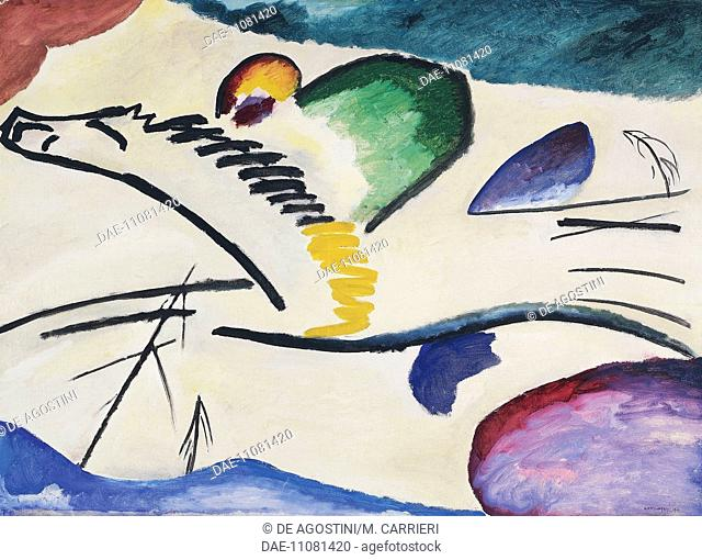 Lyrical, 1911, by Wassily Kandinsky (1866-1944), oil on canvas, 94x130 cm. Russia, 20th century.  Rotterdam, Museum Boijmans Van Beuningen (Fine Arts Museum)