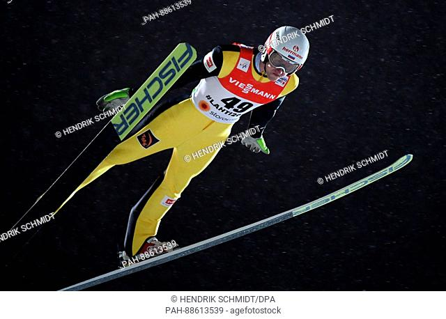 Jewgeni Klimow from Russia in action during a jump in the men's qualification event at the Nordic Ski World Championship in Lahti, Finland, 01 March 2017