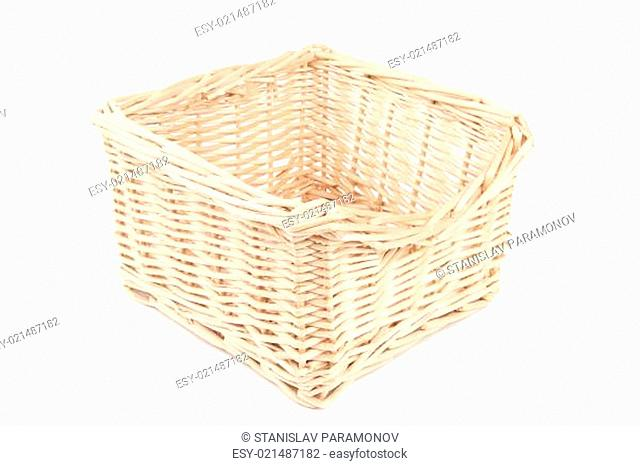 empty wooden basket - isolated on white background