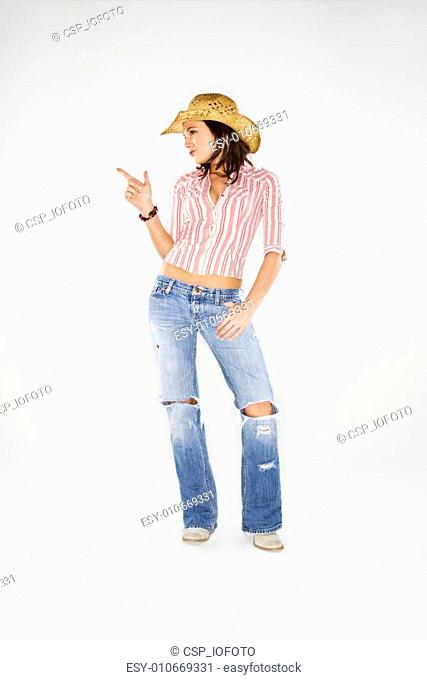 Cowgirl with imaginary gun