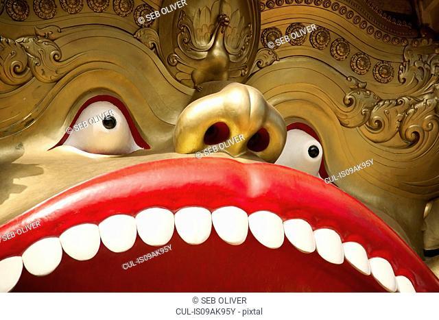 Detail of ornate sculpture at The Golden Temple, Dambulla, Sri Lanka