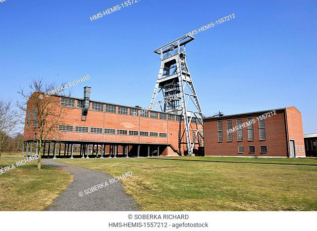 France, Nord, Wallers, mine site of the pit of Arenberg, listed as World Heritage by UNESCO, headframe of the pits 3 and 4
