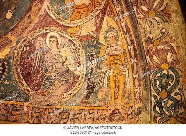 Mural paintings. Iglesia de San Juan Bautista de Ruesta (Zaragoza), Diocesan Museum of Jaca, Museo Diocesano de Jaca, Jaca, Huesca province, Aragón, Spain