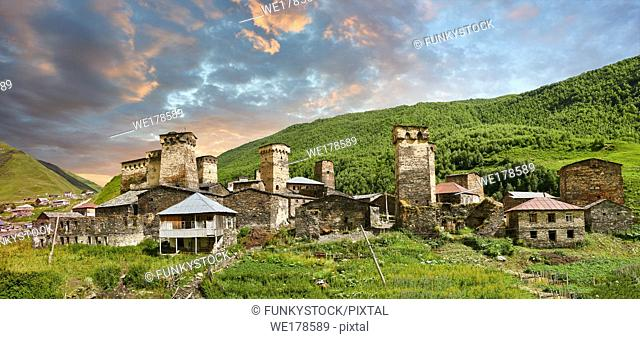Stone Svaneti tower houses of Chazhashi, Ushguli, Upper Svaneti