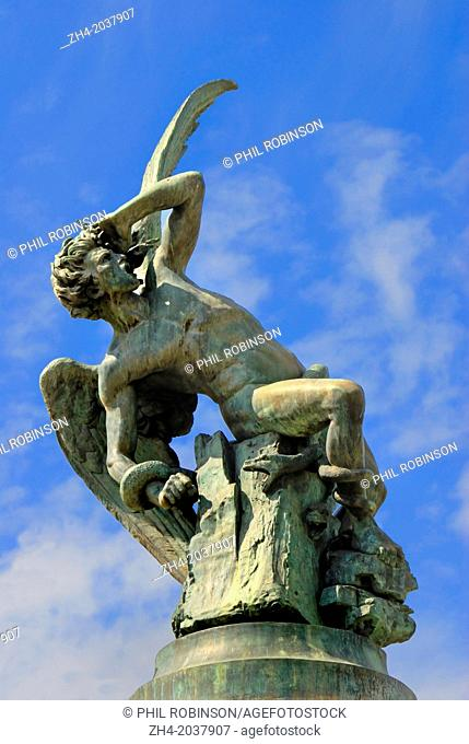 Madrid, Spain. Parque del Retiro (park). Statue: Monumento al Angel Caido / the Fallen Angel. (1878; Ricardo Bellver. World's only statue of the devil)