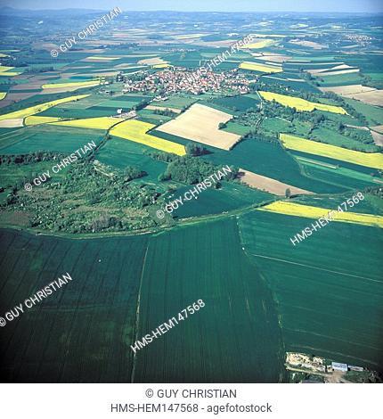 France, Allier, Charroux Village, labelled Les Plus Beaux Villages de France The Most Beautiful Villages of France, village and Limagne plain aerial view