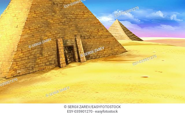 Digital painting of the Egyptian pyramid with entrance. Mystic and secret scene. Long shot