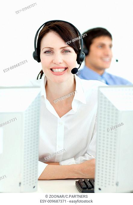 Businesswoman with headset on working