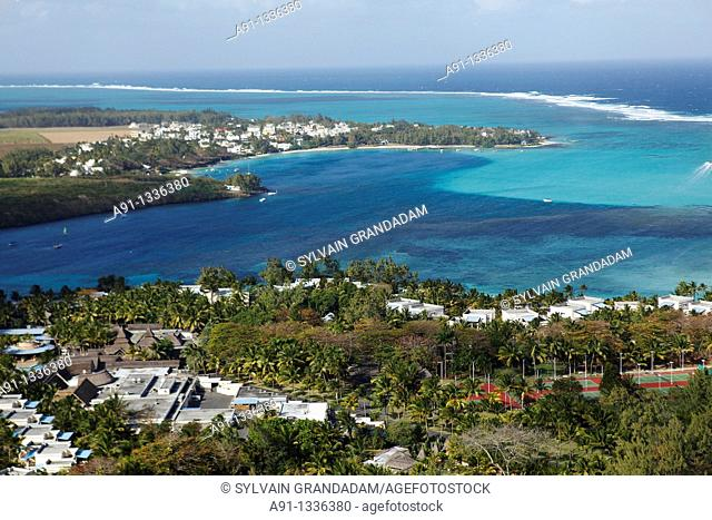 Mauritius, aerial view from an helicopter, the coast and lagoon near Grand Port