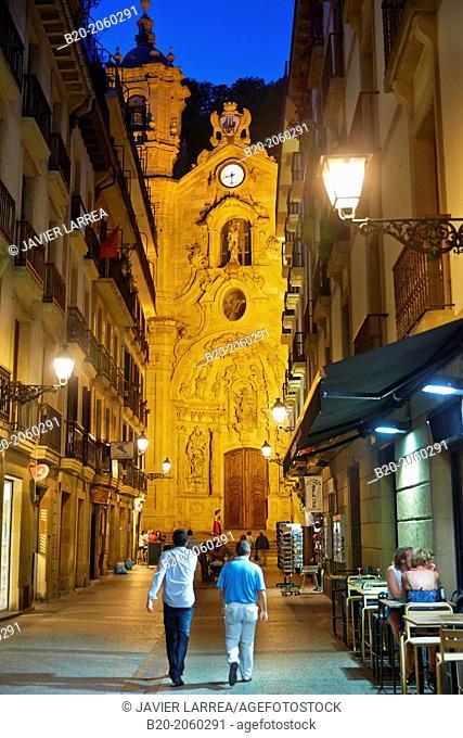 Baroque 18th century Santa Maria Basilica, old town, Donostia (San Sebastian), Basque Country, Spain
