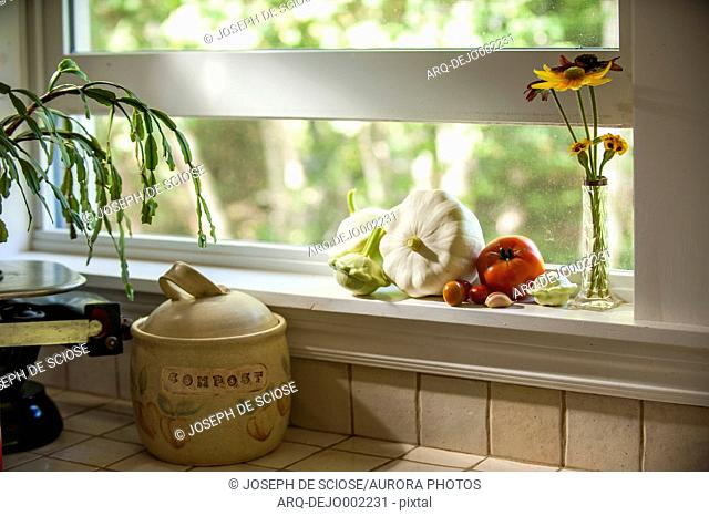 Vegetables and small vase with flowers standing on kitchen window sill, Chester, Nova¬ÝScotia, Canada