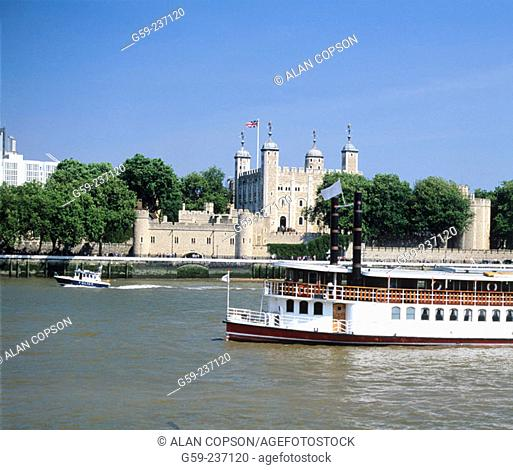 Tower of London and River Thames. London. England