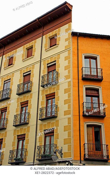 Balconies of houses, Valladolid, Spain