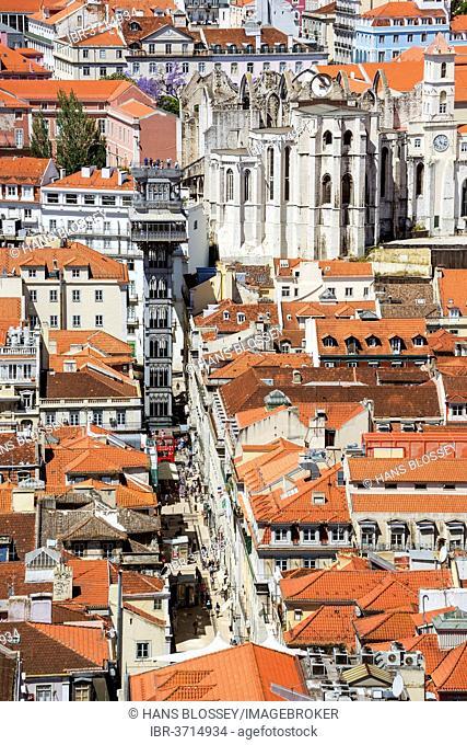 View from Castelo de São Jorge castle towards the Santa Justa Elevator, Elevador de Santa Justa or Elevador do Carmo, historic center, Lisbon, Lisbon District